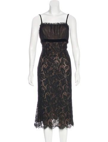 Vera Wang Lace Midi Dress None