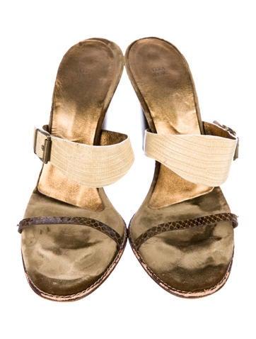 Vera Wang Lizard Slide Sandals cheap best place outlet low cost jMlR4uA