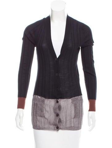 Vera Wang Colorblock Rib Knit Cardigan None