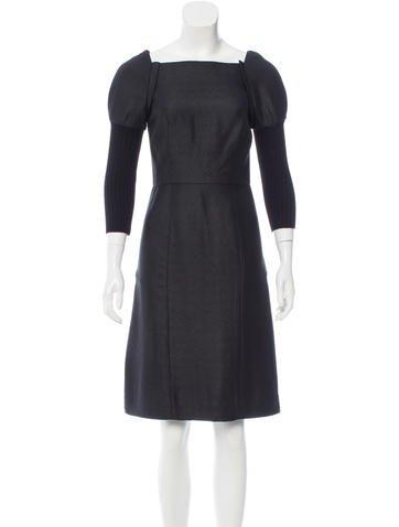 Vera Wang Wool-Accented Knee-Length Dress None