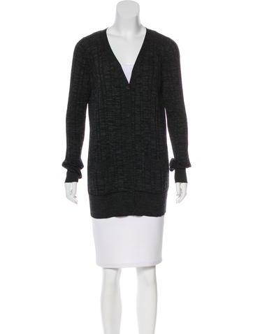 Vera Wang Wool Button-Up Cardigan None