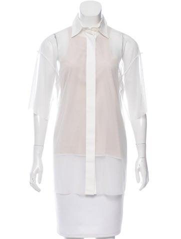 Vera Wang Sheer Button-Up Top None