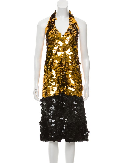Vera Wang Paillette Trapeze Dress w/ Tags Black