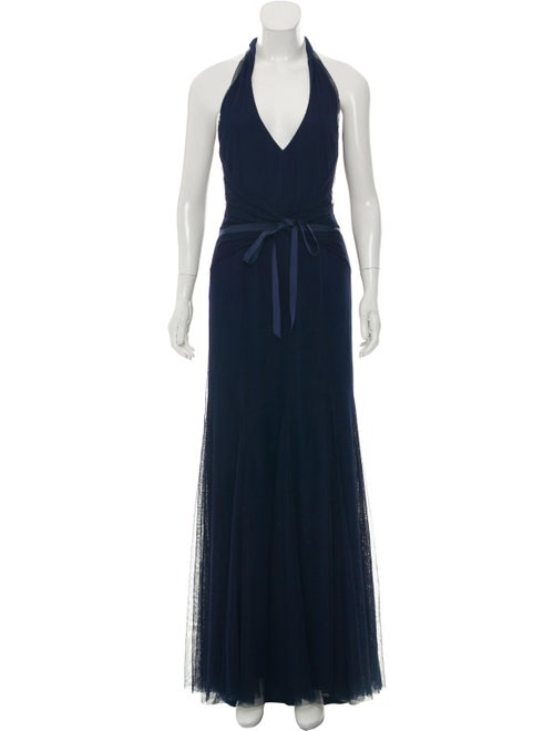 Vera Wang Tulle Evening Gown Navy
