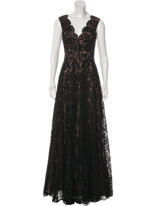 Vera Wang Lace Evening Dress Black