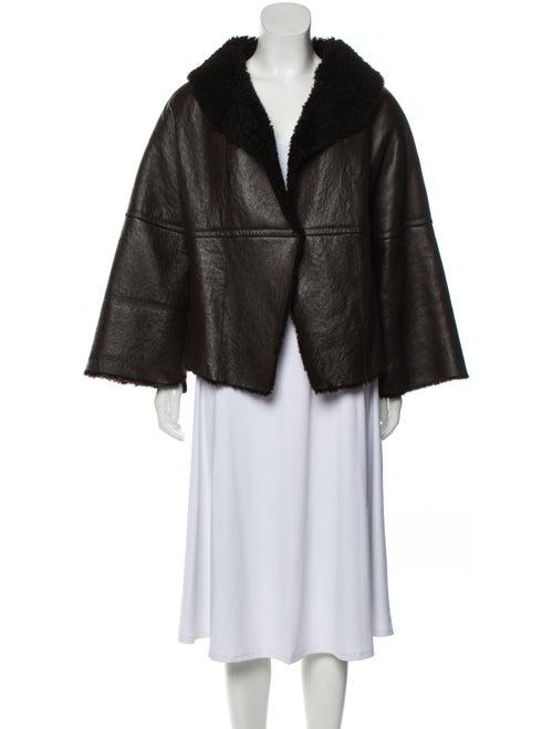 Vera Wang Leather Shearling Jacket Brown