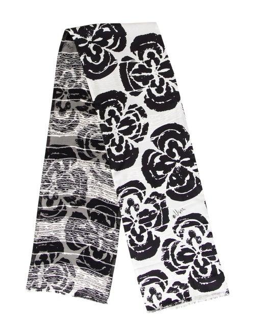 Vera Wang Silk Printed Scarf Black