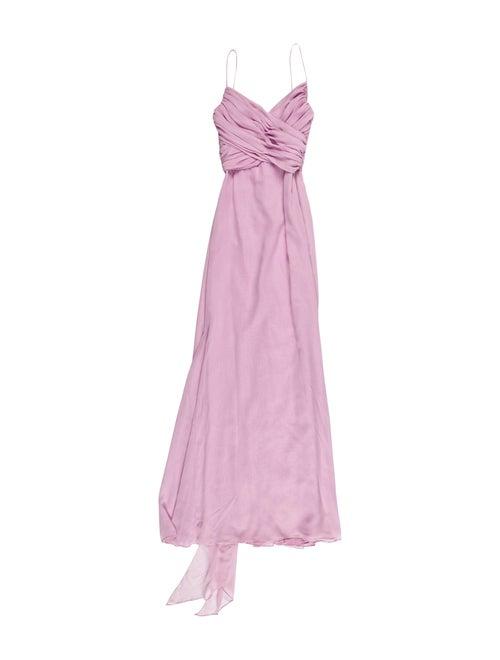 Vera Wang V-Neck Long Dress Purple