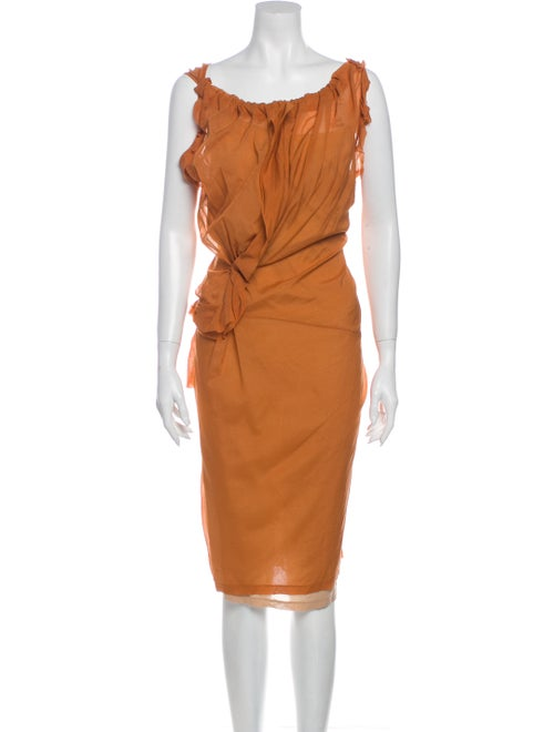 Vera Wang Silk Knee-Length Dress Orange