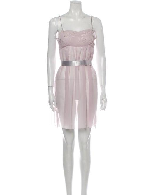 Vera Wang Silk Mini Dress Purple