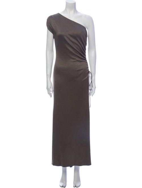 Vera Wang One-Shoulder Long Dress Grey