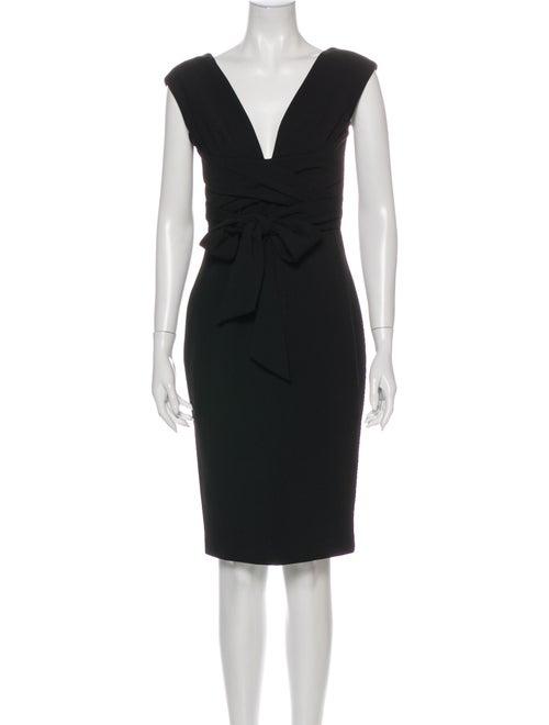 Vera Wang V-Neck Knee-Length Dress Black