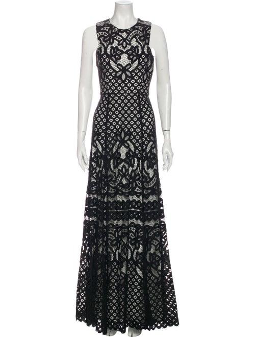 Vera Wang Lace Pattern Long Dress Black