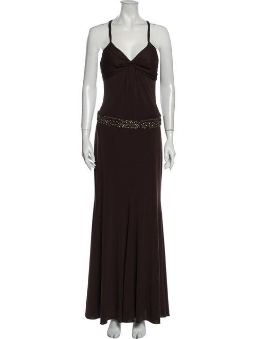 Vera Wang Silk Long Dress Brown