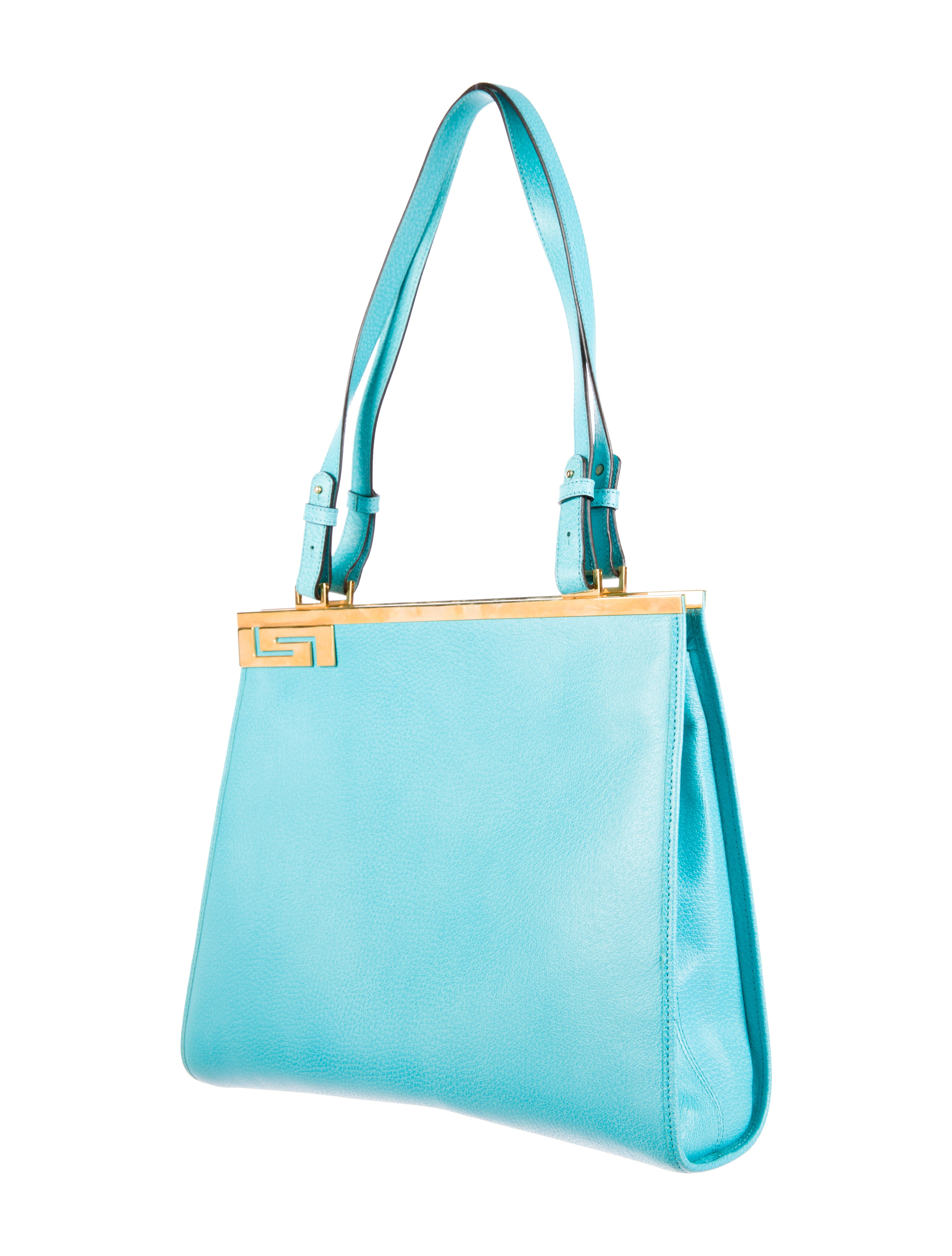 Versace Textured Leather Shoulder Bag Handbags  : VES248383enlarged from www.therealreal.com size 4094 x 5402 jpeg 1044kB