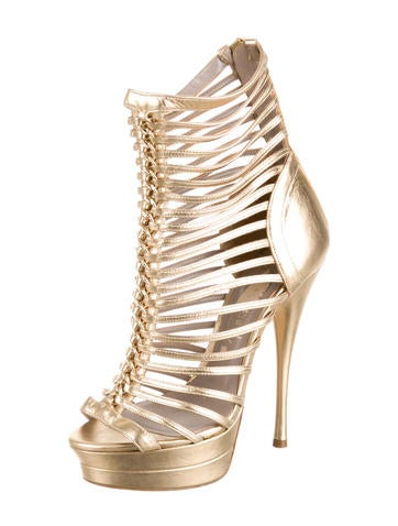 Metallic Caged Sandals