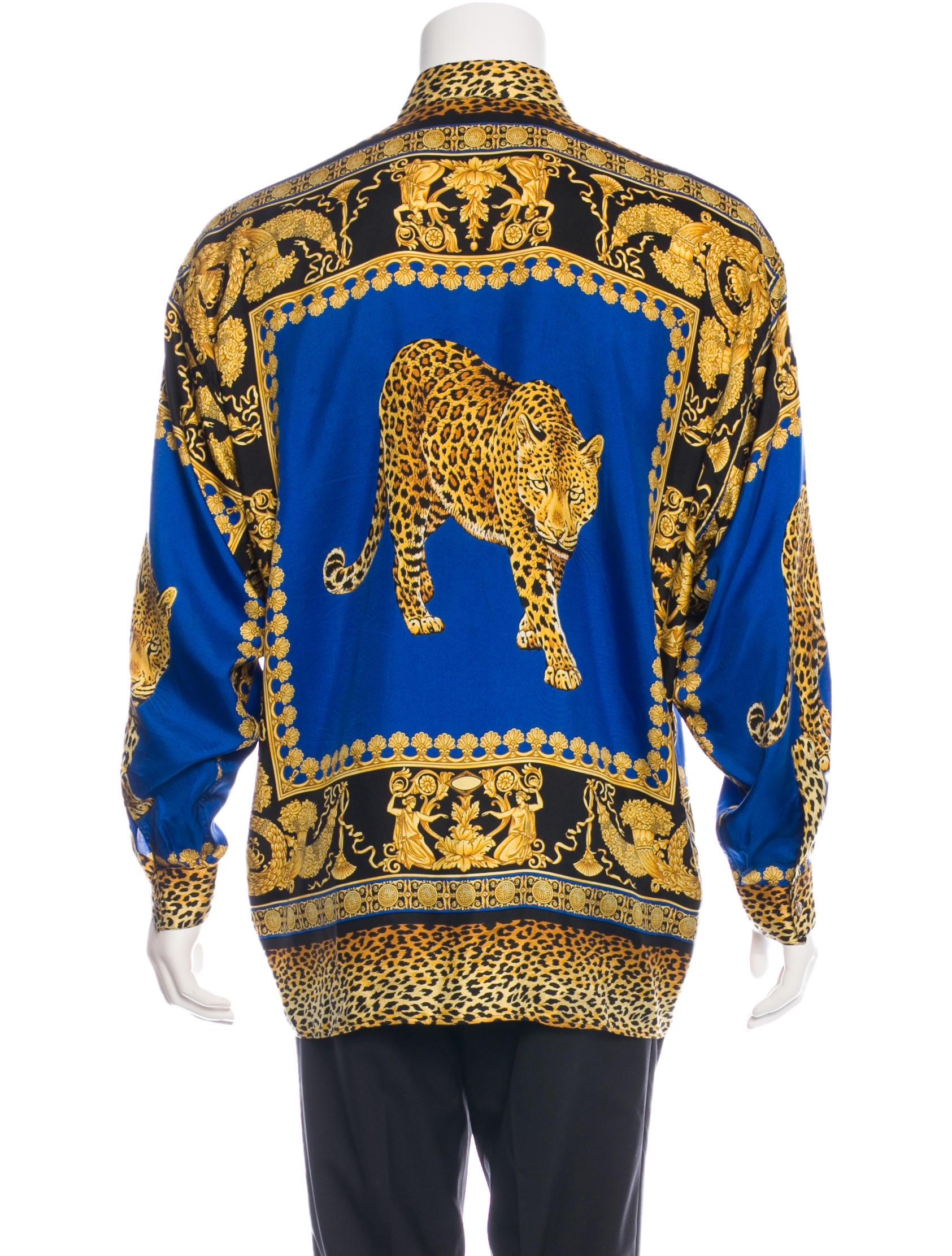 Versace Silk Baroque Jaguar Shirt Clothing Ves26536