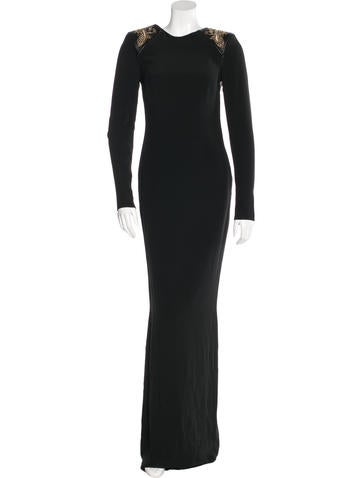 Versace Stud-Embellished Open Back Gown w/ Tags