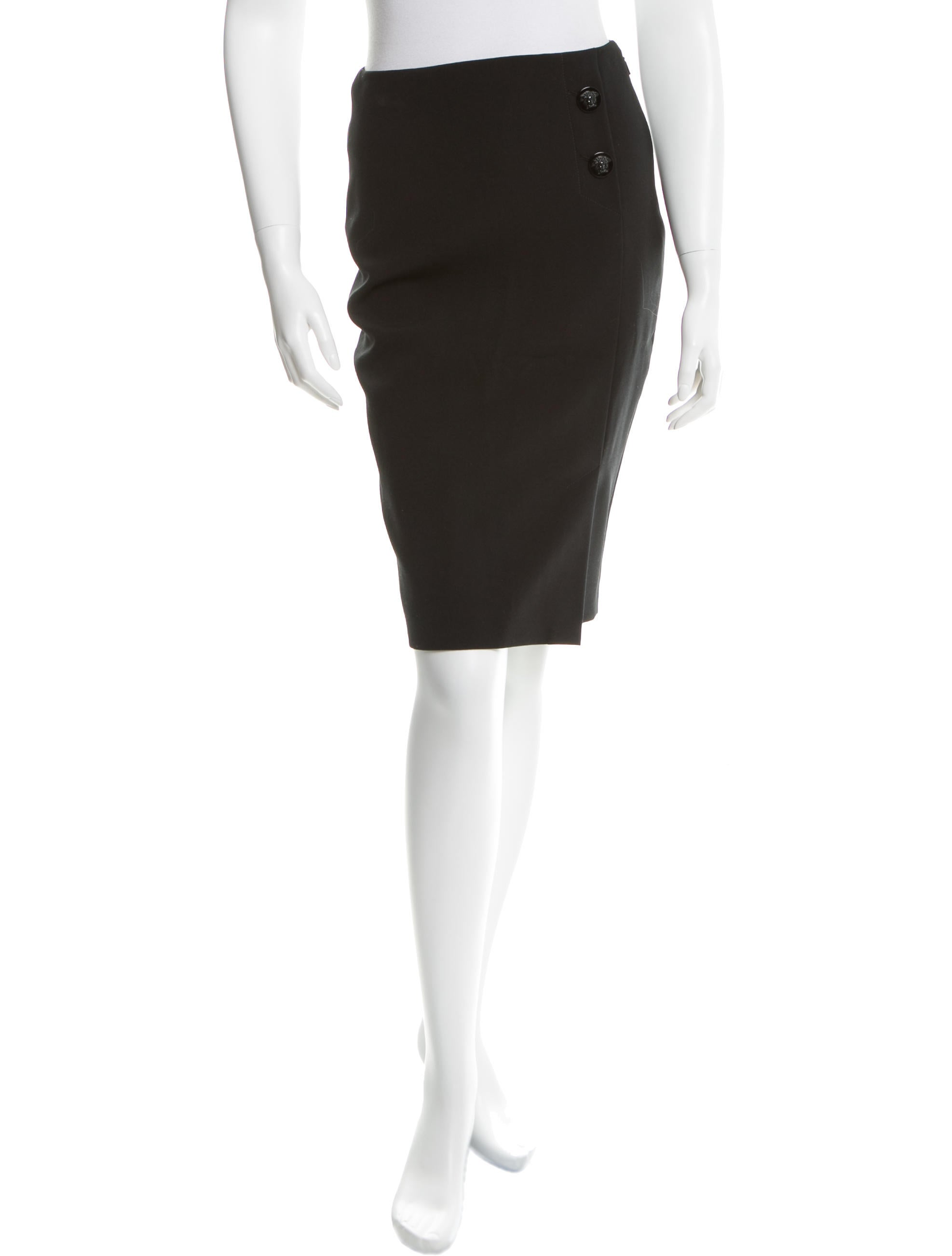 versace knee length pencil skirt clothing ves27320