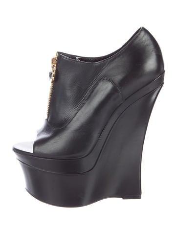 Versace Leather Platform Booties None
