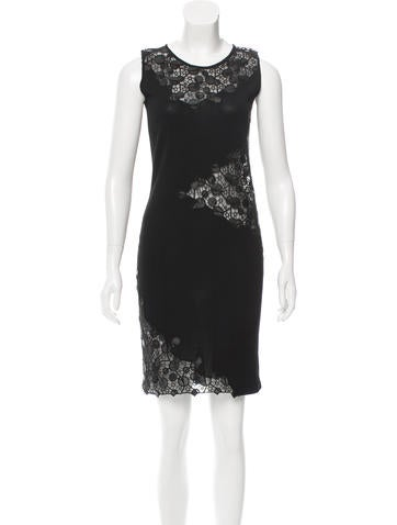 Versace Mesh-Accented Knit Dress None