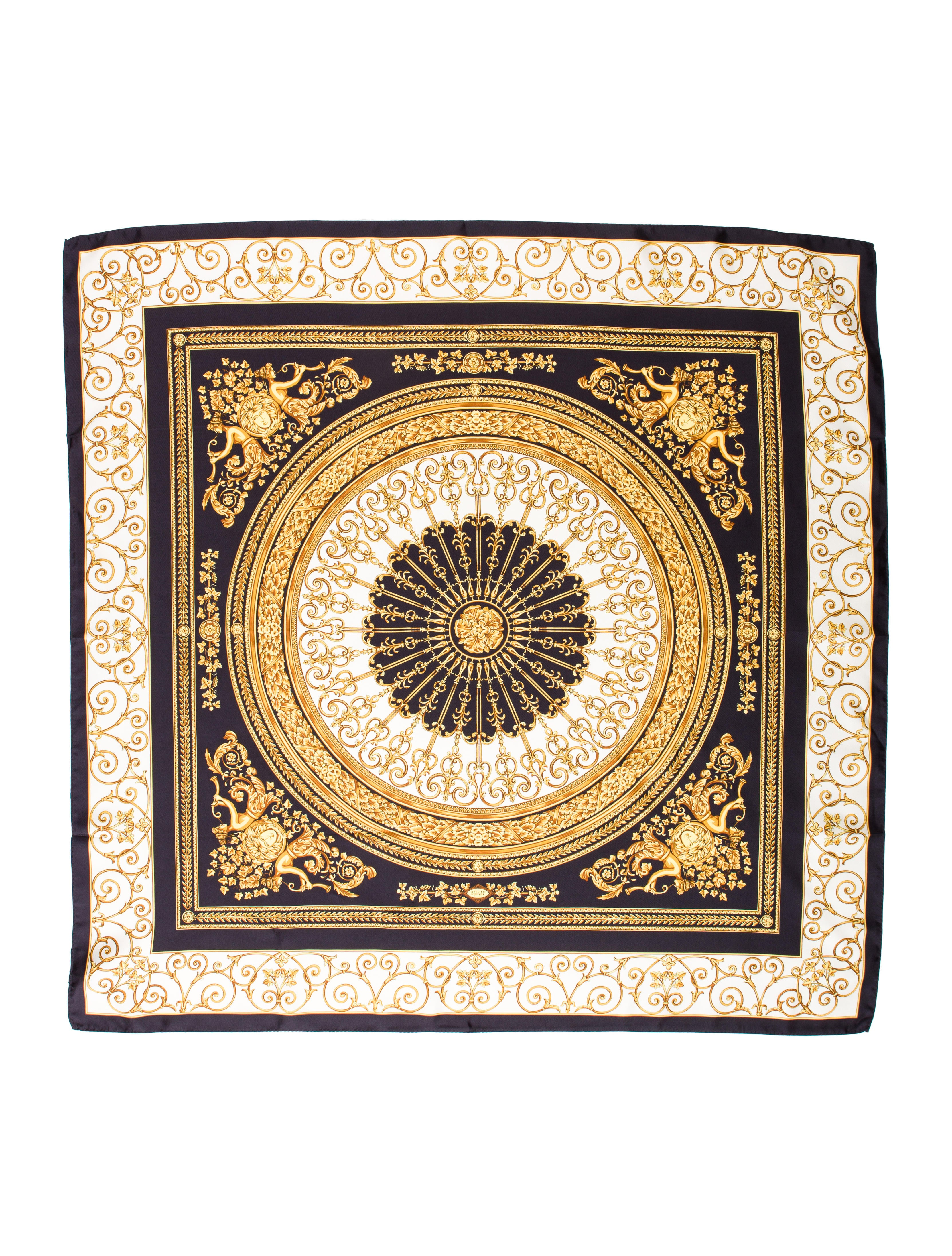 Versace Medusa Ornate Print Silk Scarf w Tags  : VES289812enlarged from www.therealreal.com size 3325 x 4386 jpeg 2192kB