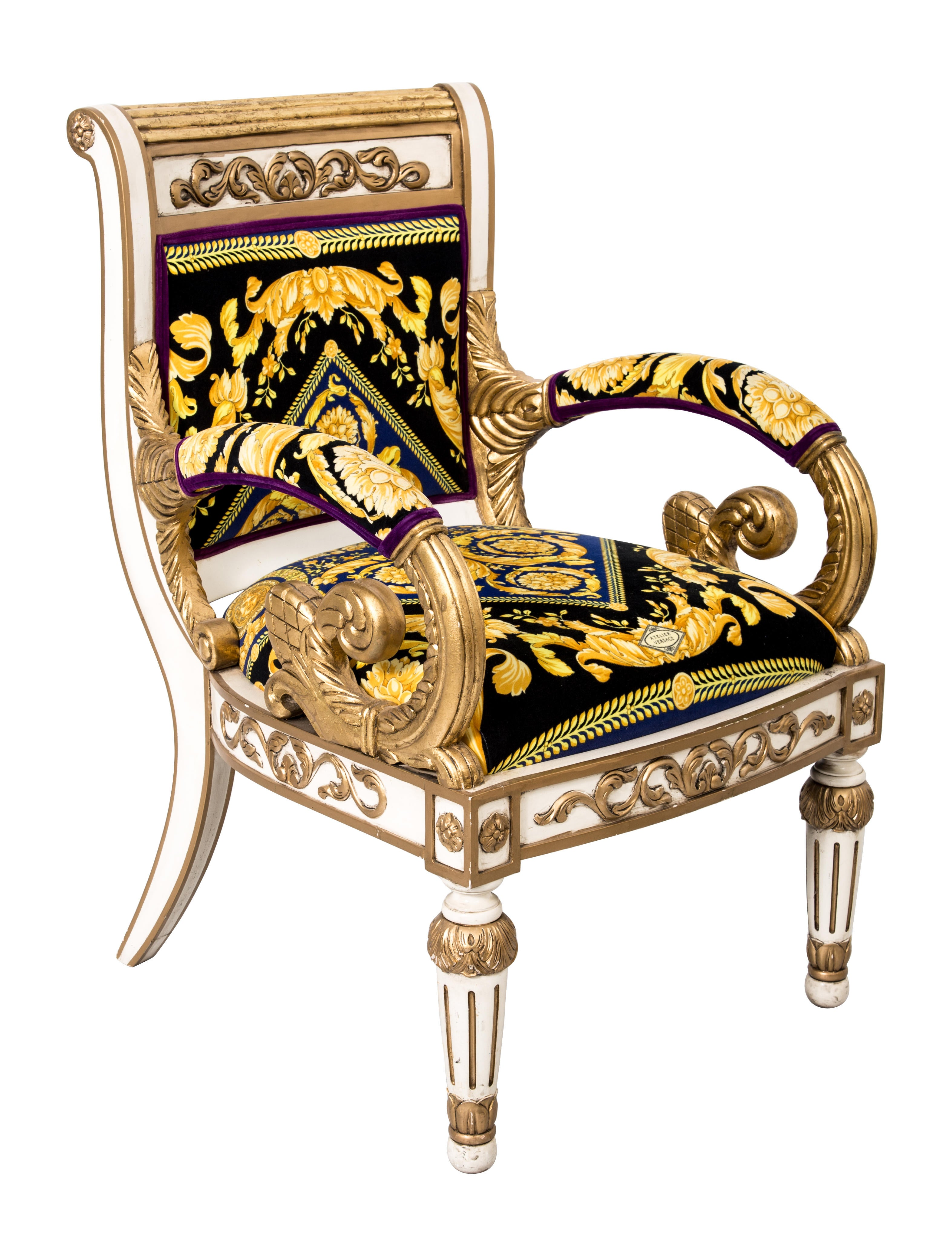 Versace Giltwood Arm Chair Furniture VES29020 The  : VES290201enlarged from www.therealreal.com size 3146 x 4152 jpeg 993kB
