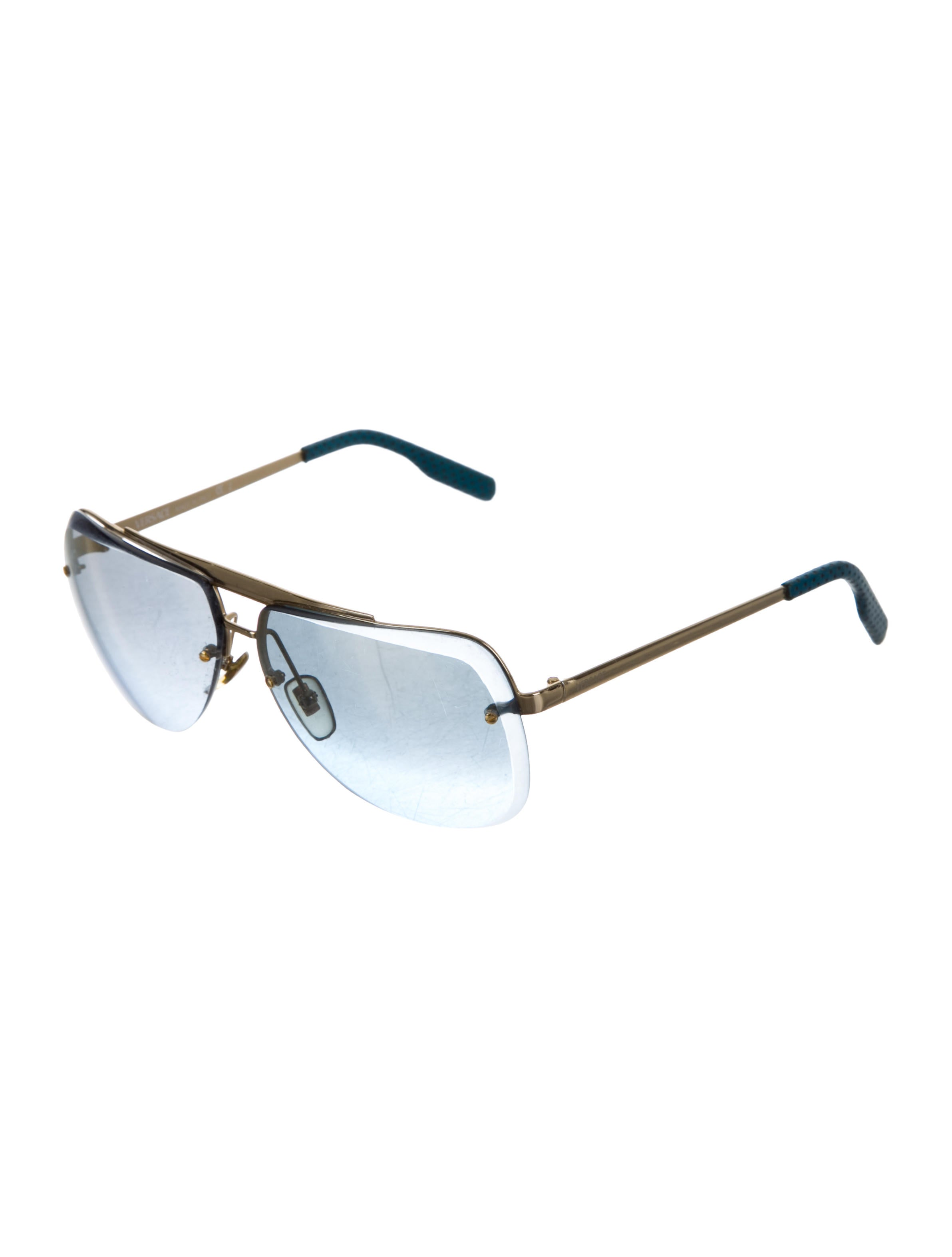 Versace Rimless Aviator Sunglasses Accessories  : VES291432enlarged from www.therealreal.com size 2383 x 3144 jpeg 105kB