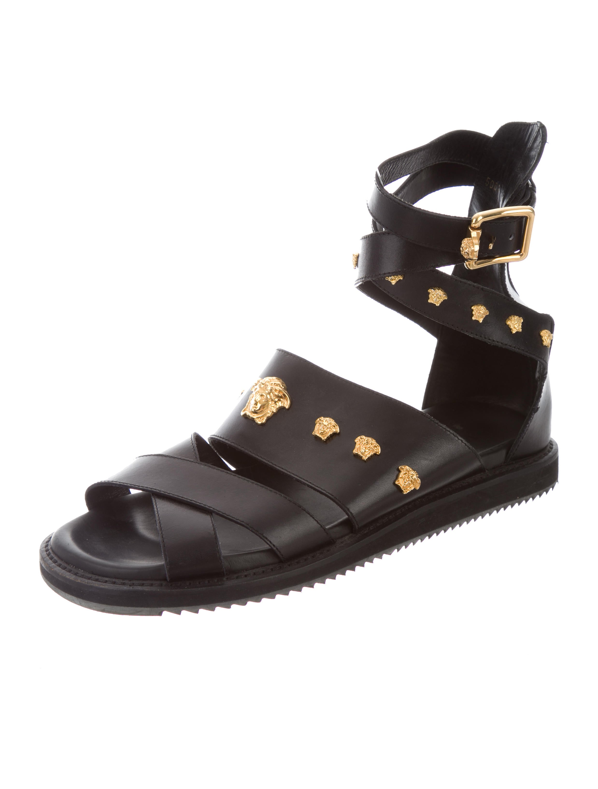Versace Medusa Leather Sandals - Shoes - VES29189 | The RealReal