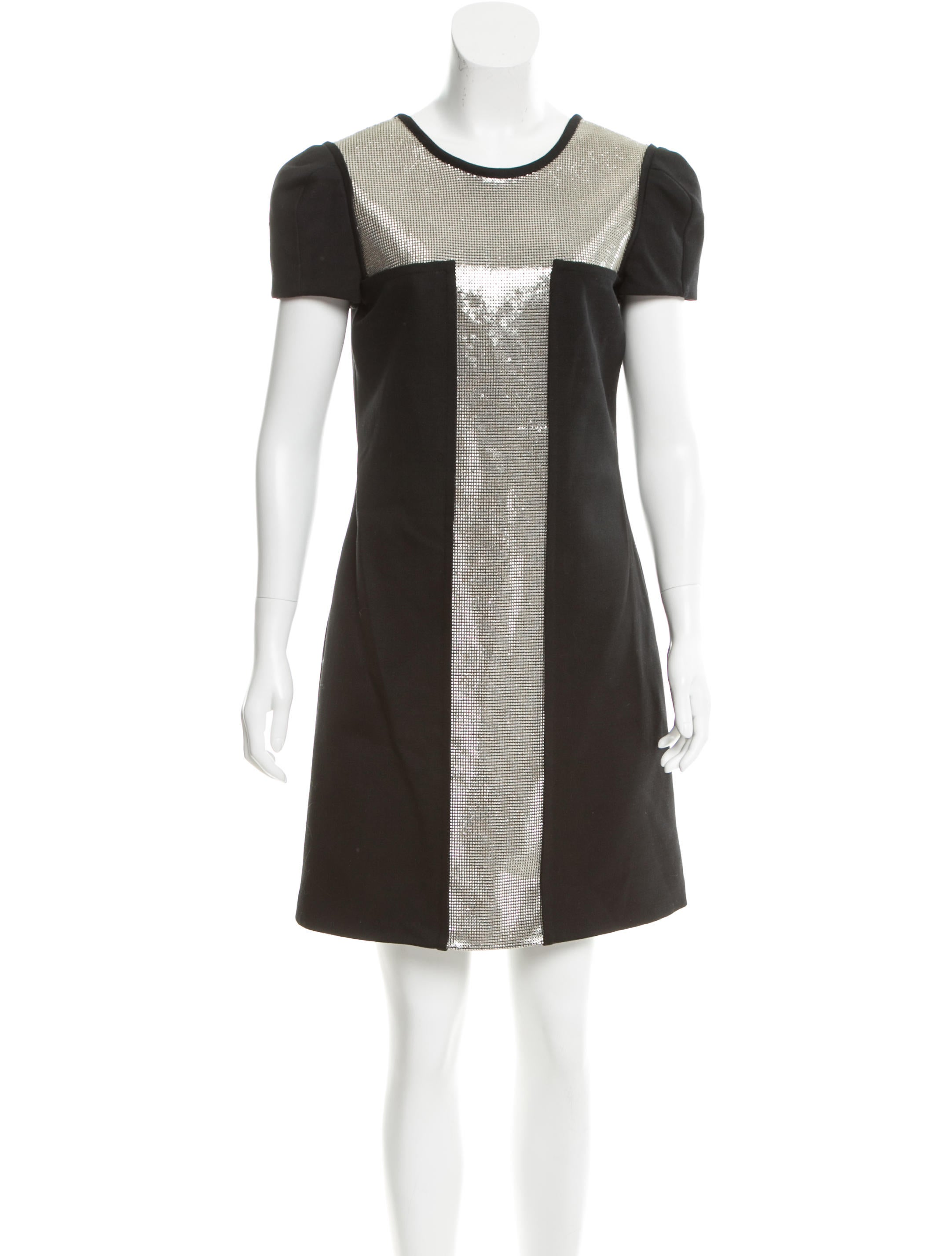 Versace Chainmail Embellished Wool Dress Clothing