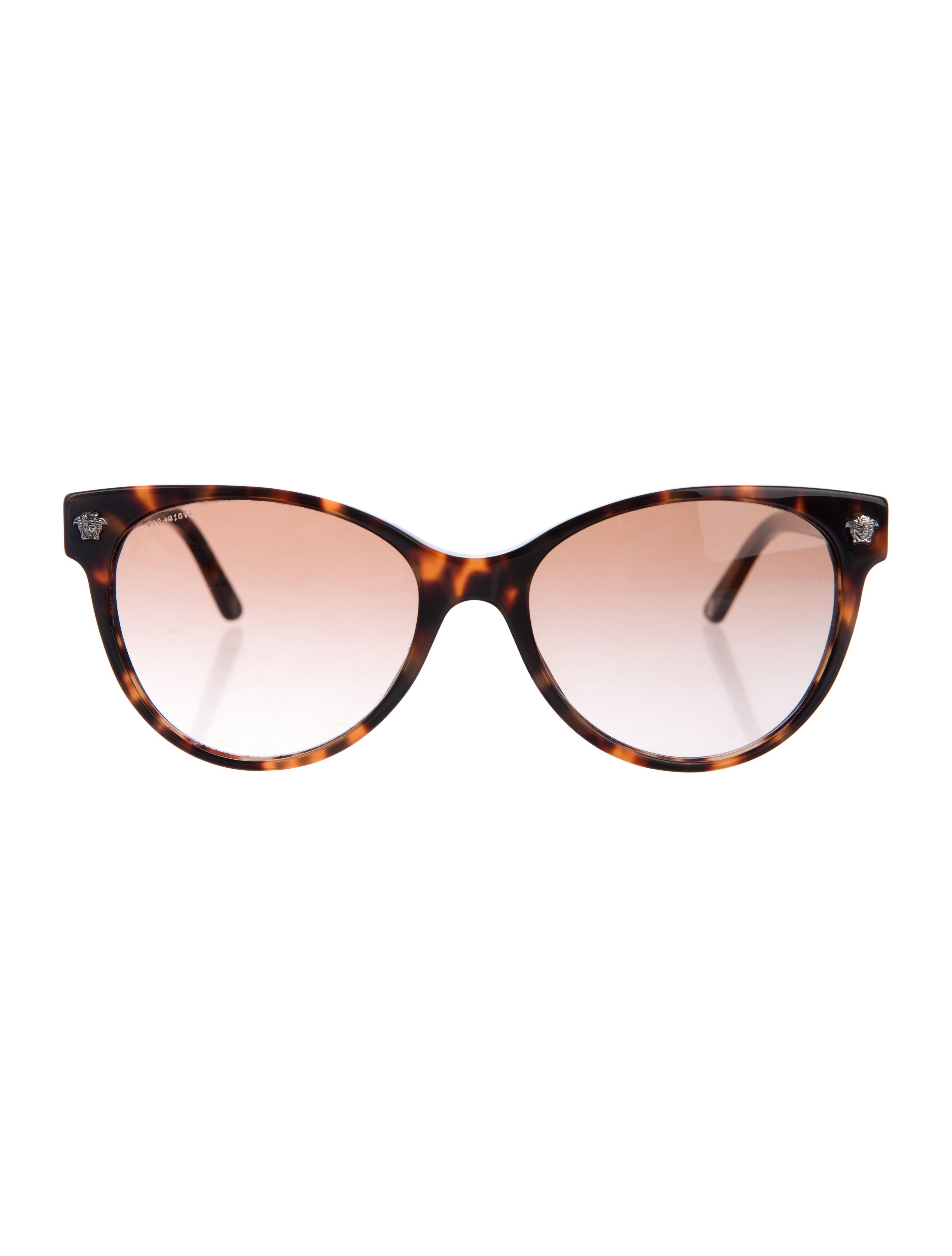 24c180253b61 Versace Cat Eye Sunglasses With Leather Trim
