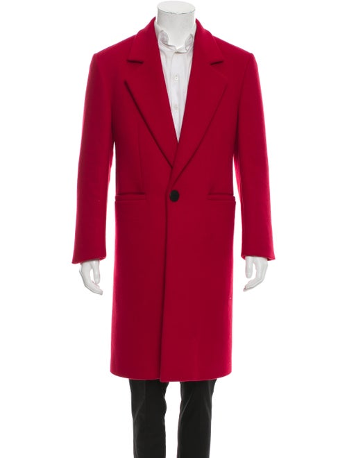 Versace Wool Notch Lapel Overcoat red