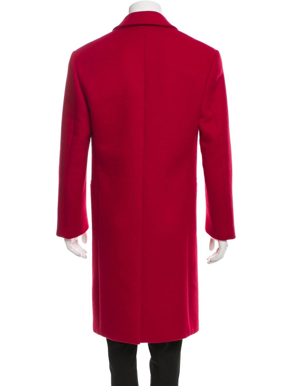 Versace Wool Notch Lapel Overcoat red - image 3