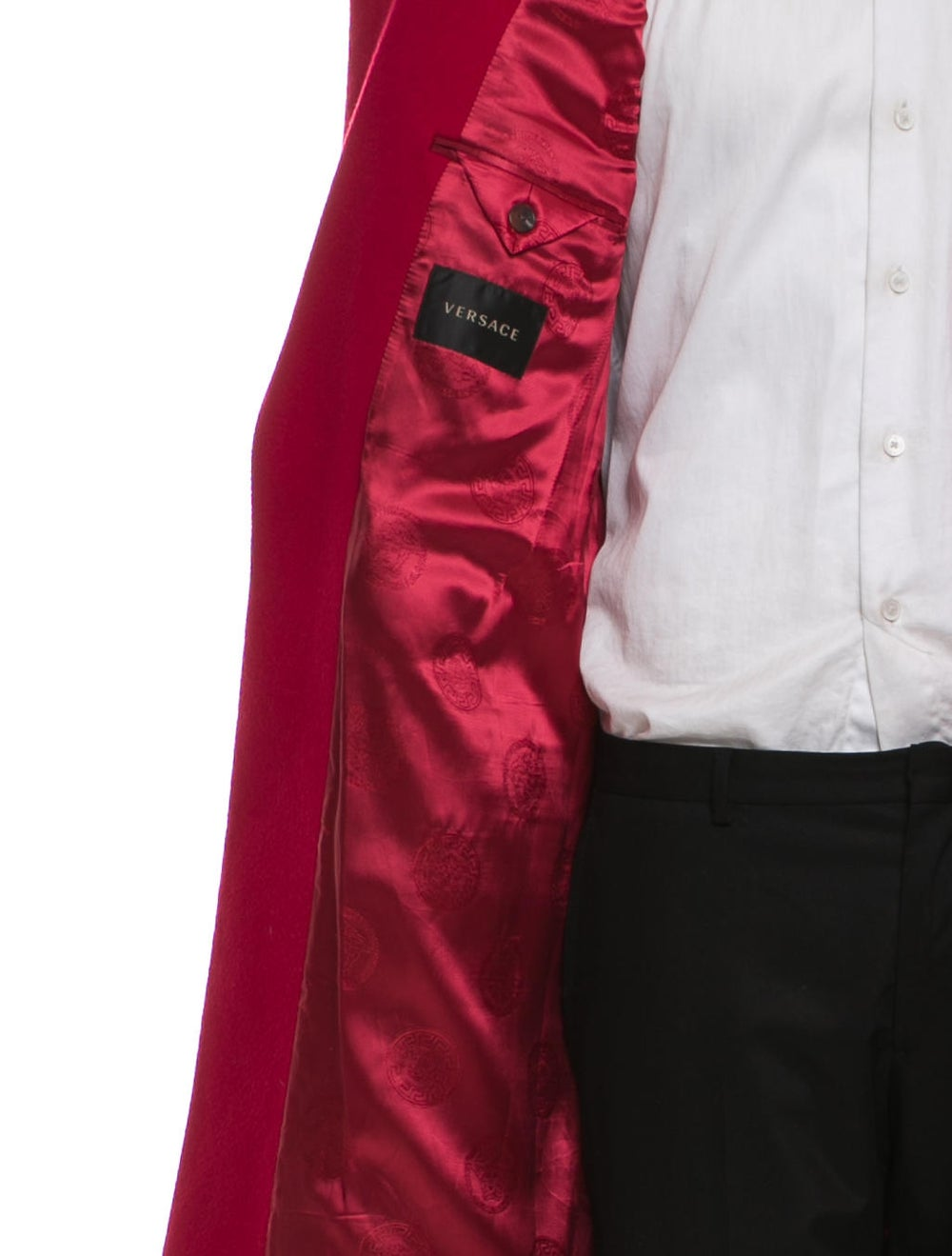 Versace Wool Notch Lapel Overcoat red - image 4