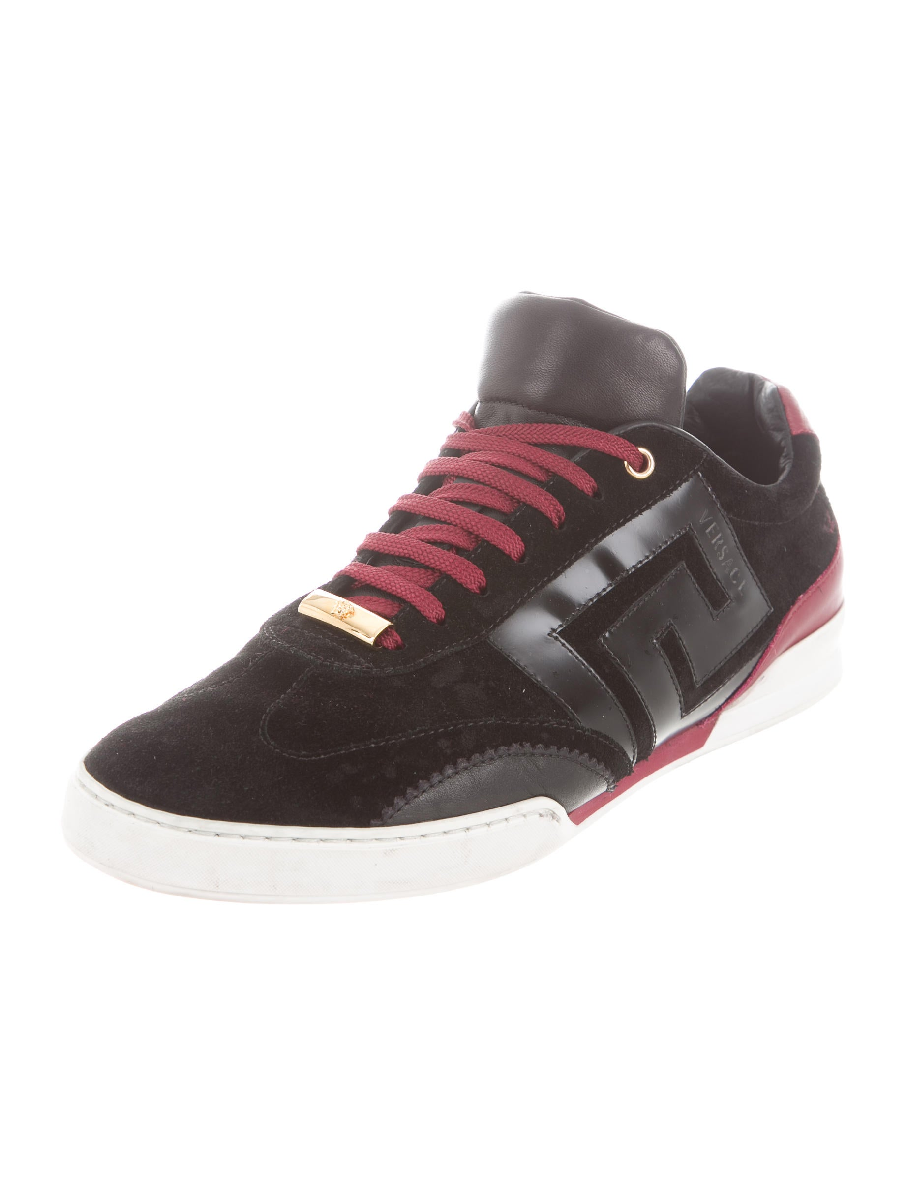 Versace Suede Leather Trimmed Sneakers Shoes VES30024  : VES300242enlarged from www.therealreal.com size 1842 x 2430 jpeg 162kB