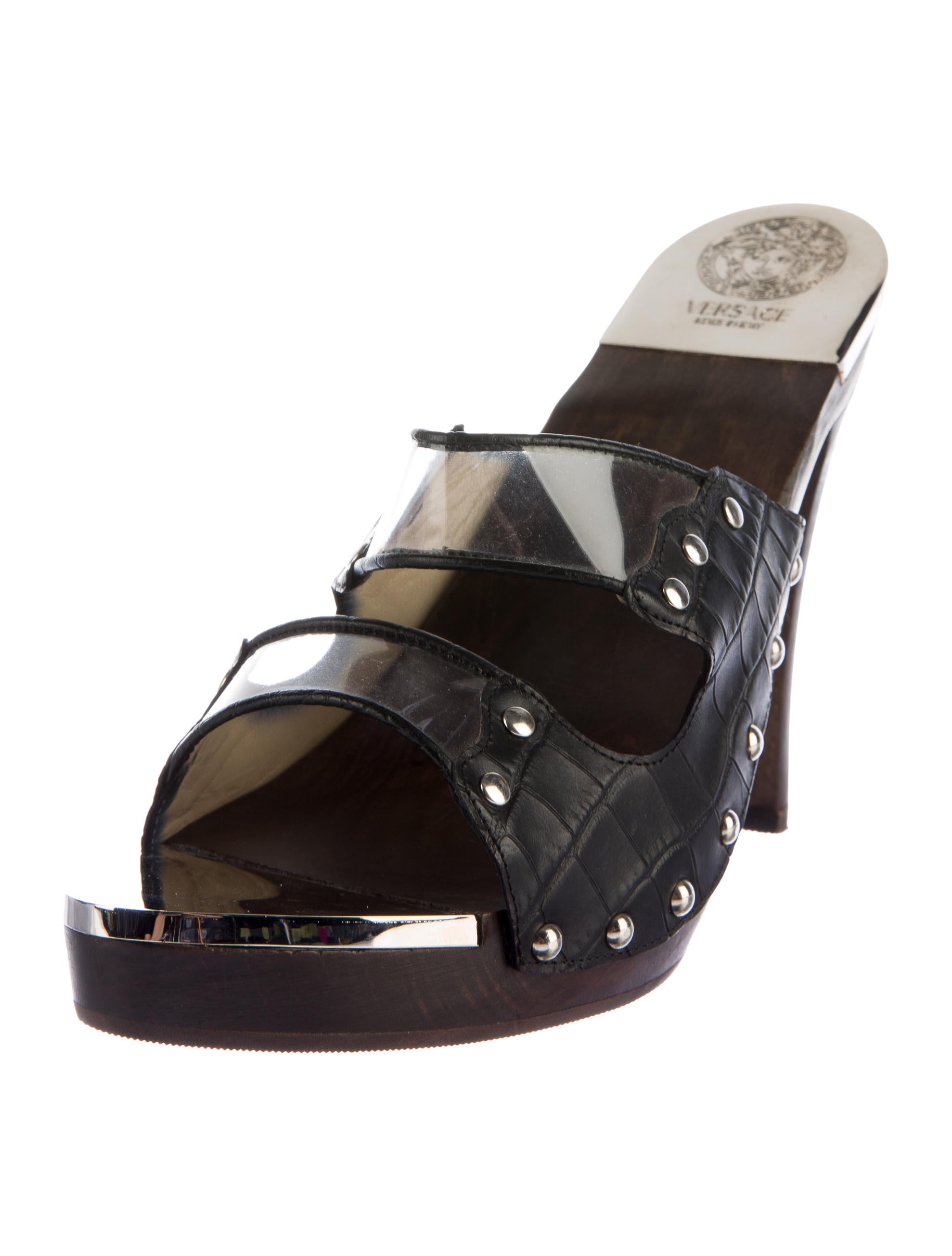 Versace Studded Embossed Leather Slide Sandals - Shoes - VES30083 | The RealReal