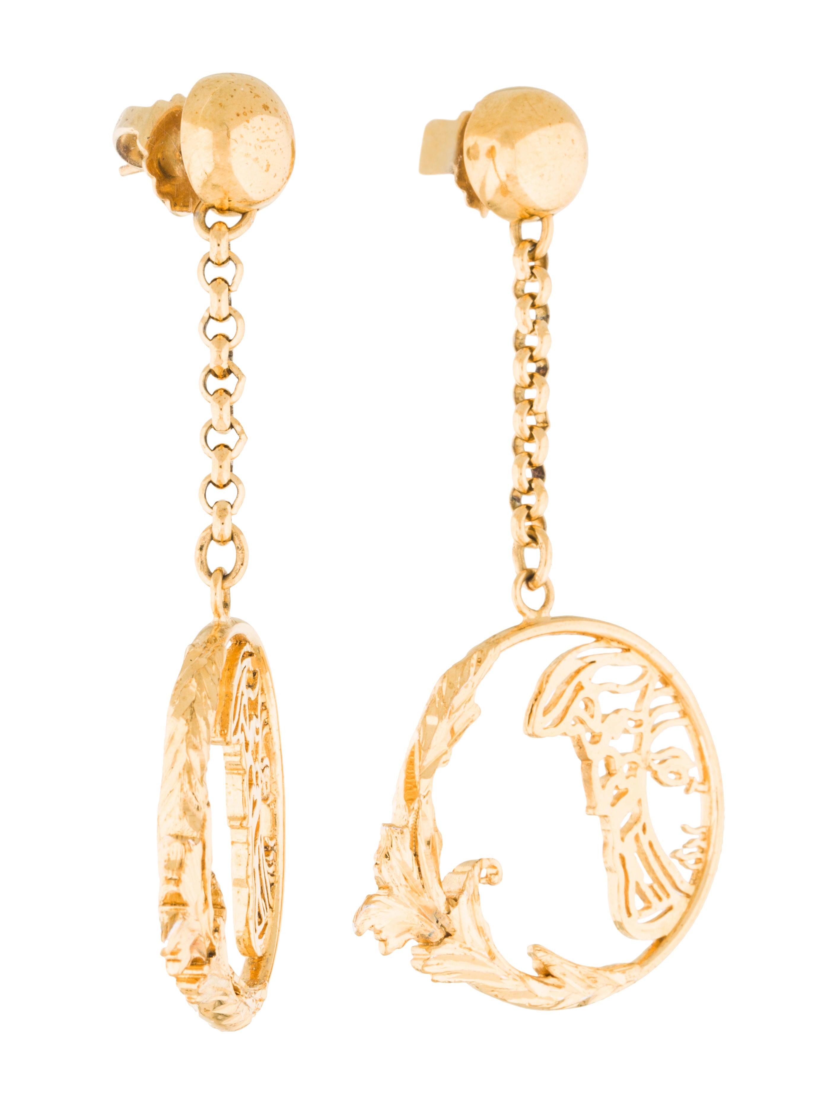 Versace Baroque Medusa Drop Earrings Earrings VES30138  : VES301383enlarged from www.therealreal.com size 2822 x 3724 jpeg 330kB