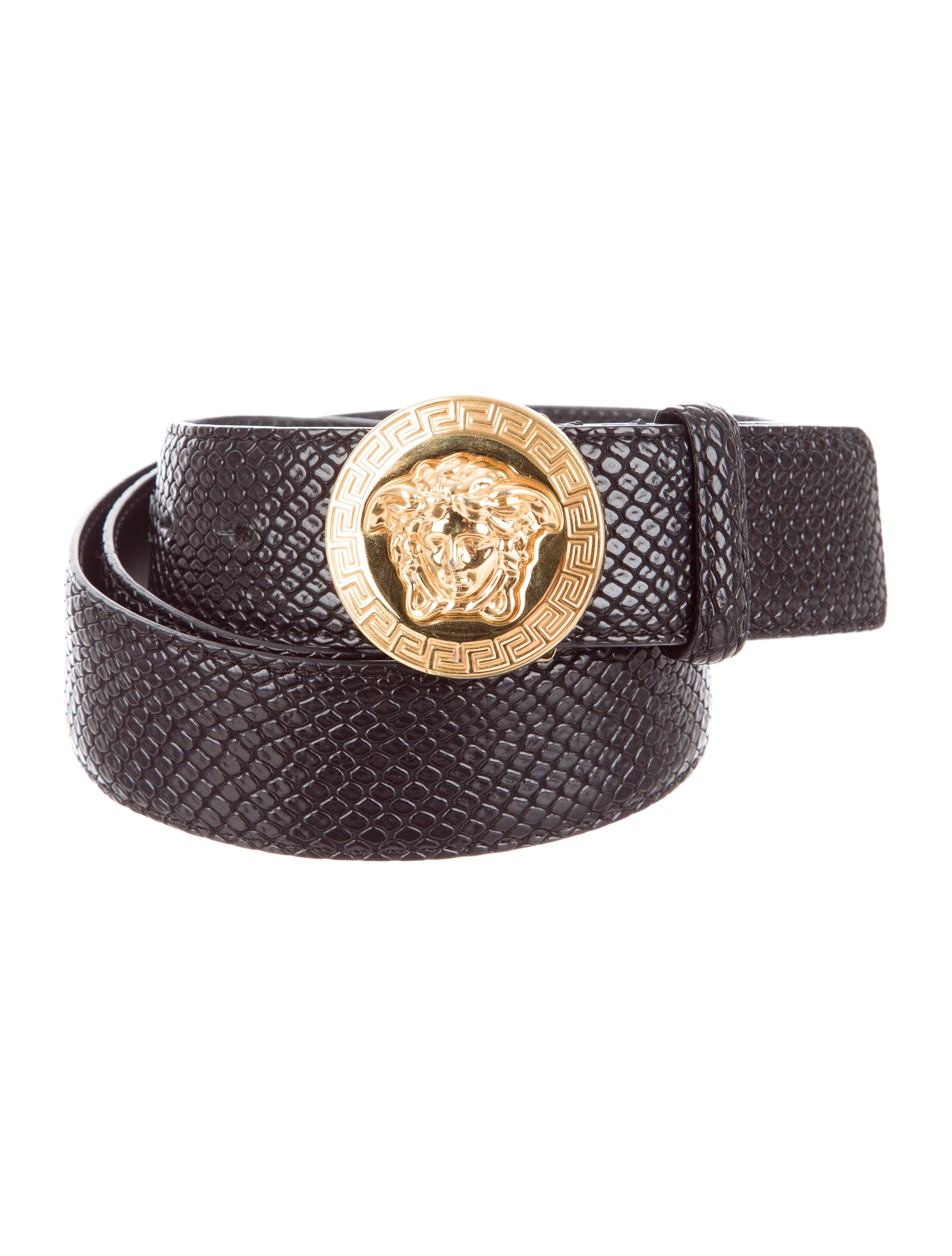 versace embossed leather medusa belt accessories