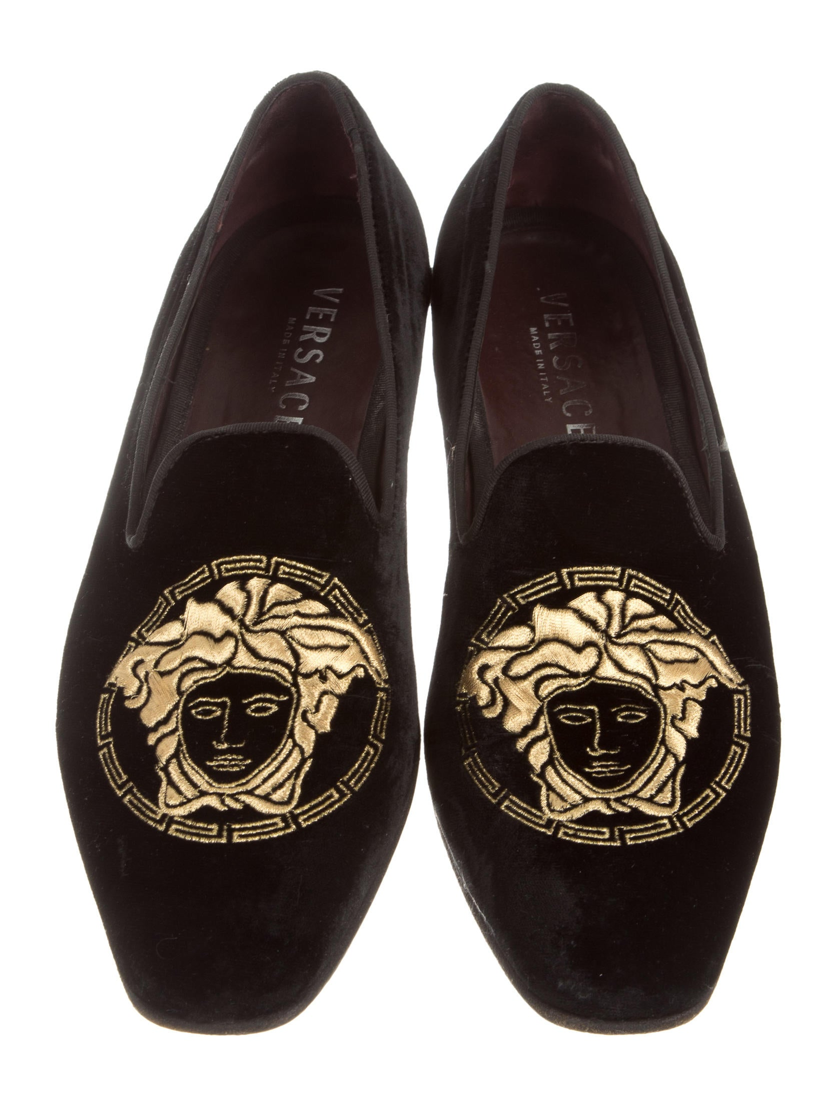 Versace Medusa Velvet Smoking Slippers Shoes VES30326  : VES303263enlarged from www.therealreal.com size 1673 x 2208 jpeg 294kB