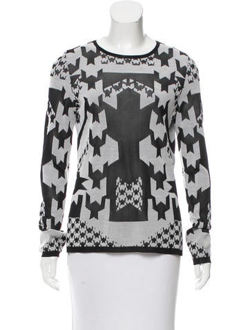 Versace Long Sleeve Houndstooth Top None