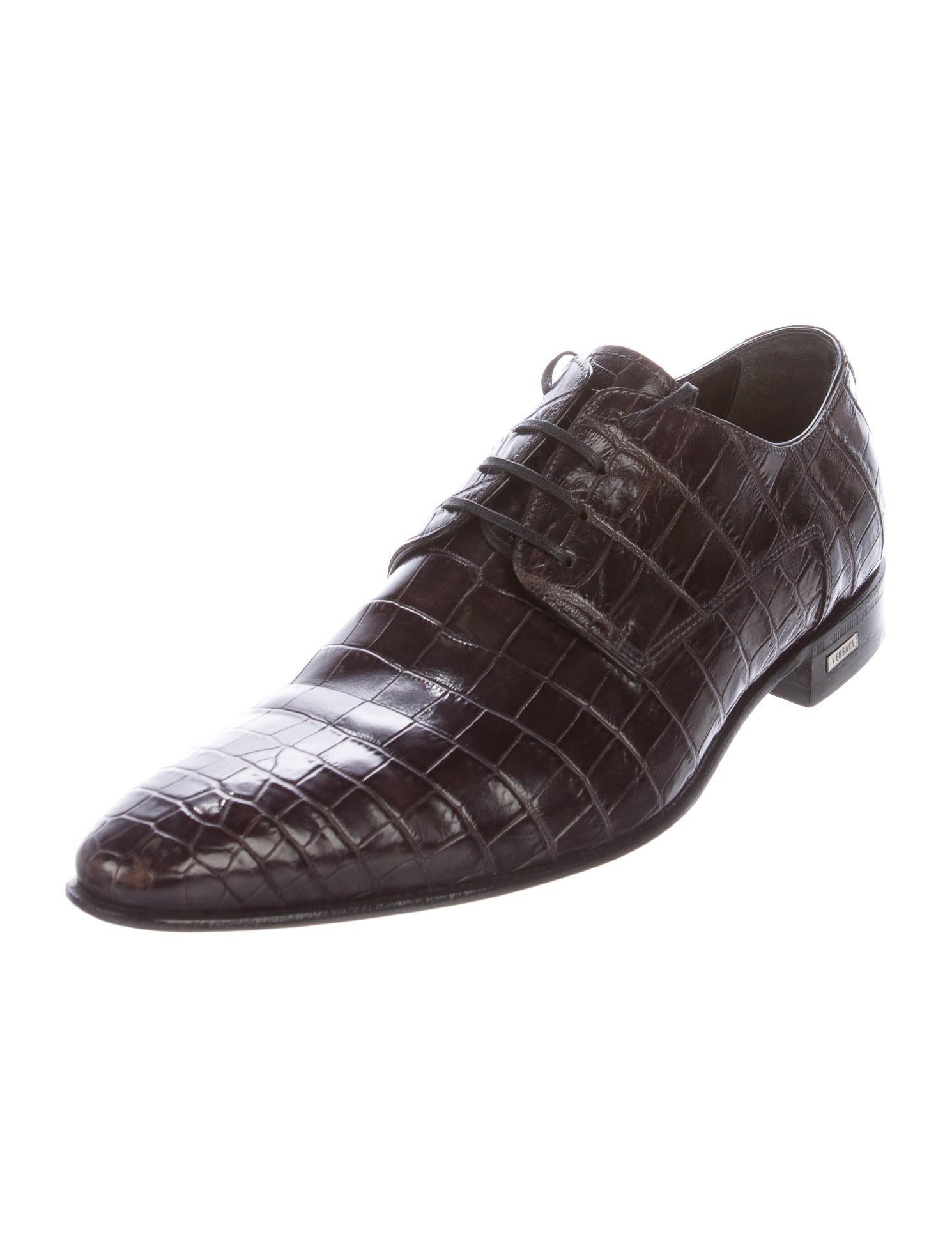 Versace Crocodile Derby Shoes Shoes VES30727 The  : VES307272enlarged from www.therealreal.com size 1490 x 1967 jpeg 122kB