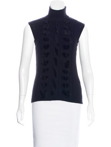 Versace Fur-Trimmed Sleeveless Top w/ Tags None