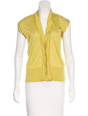 Versace Silk Zip-Accented Cardigan None