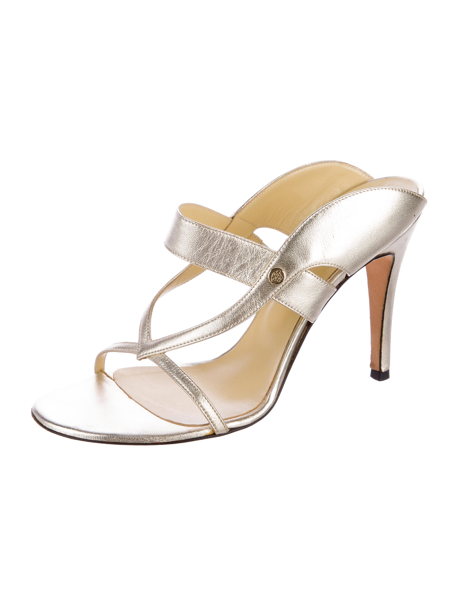 Versace Metallic Leather Slide Sandals - Shoes - VES30794 | The RealReal