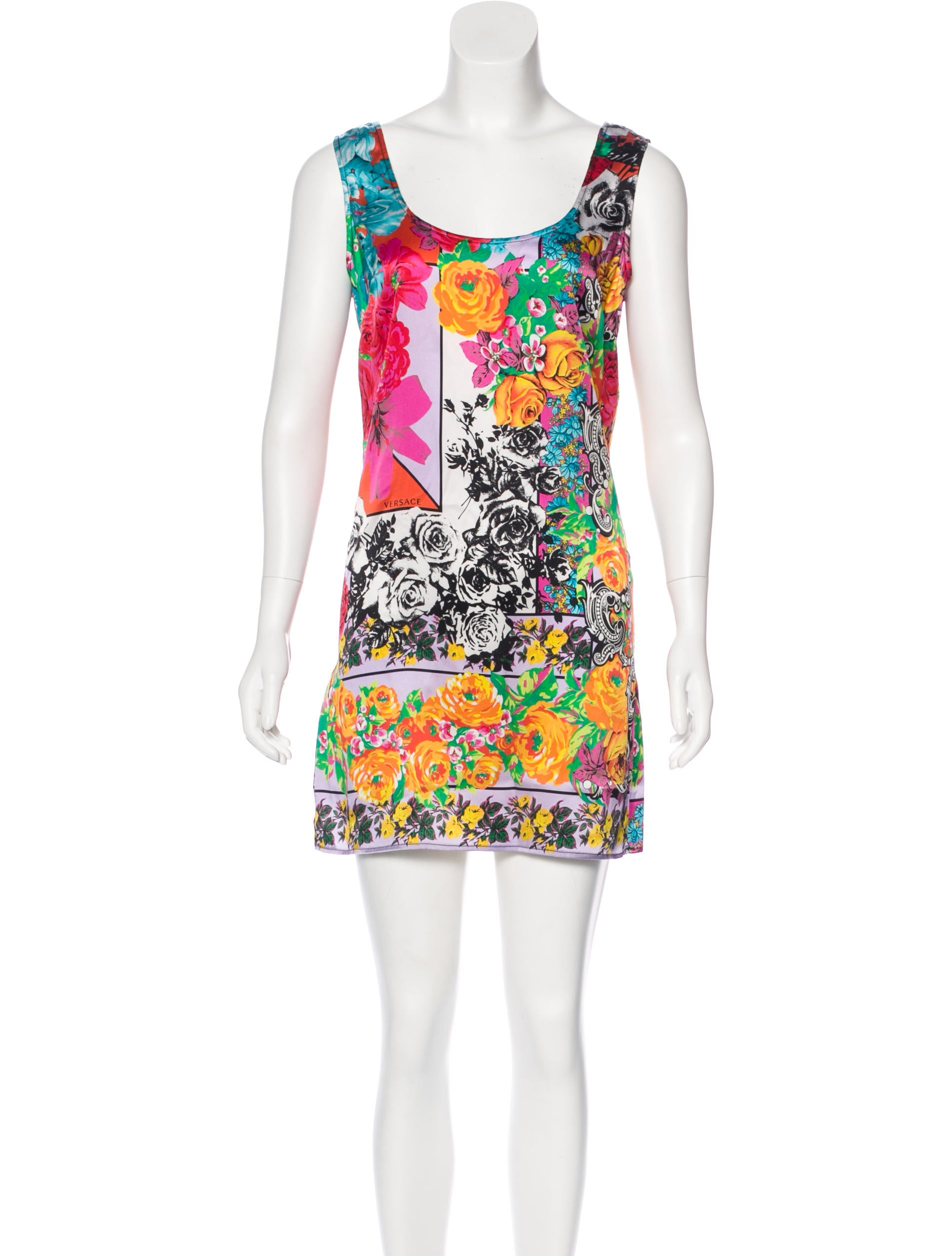 versace silk printed dress clothing ves30994 the