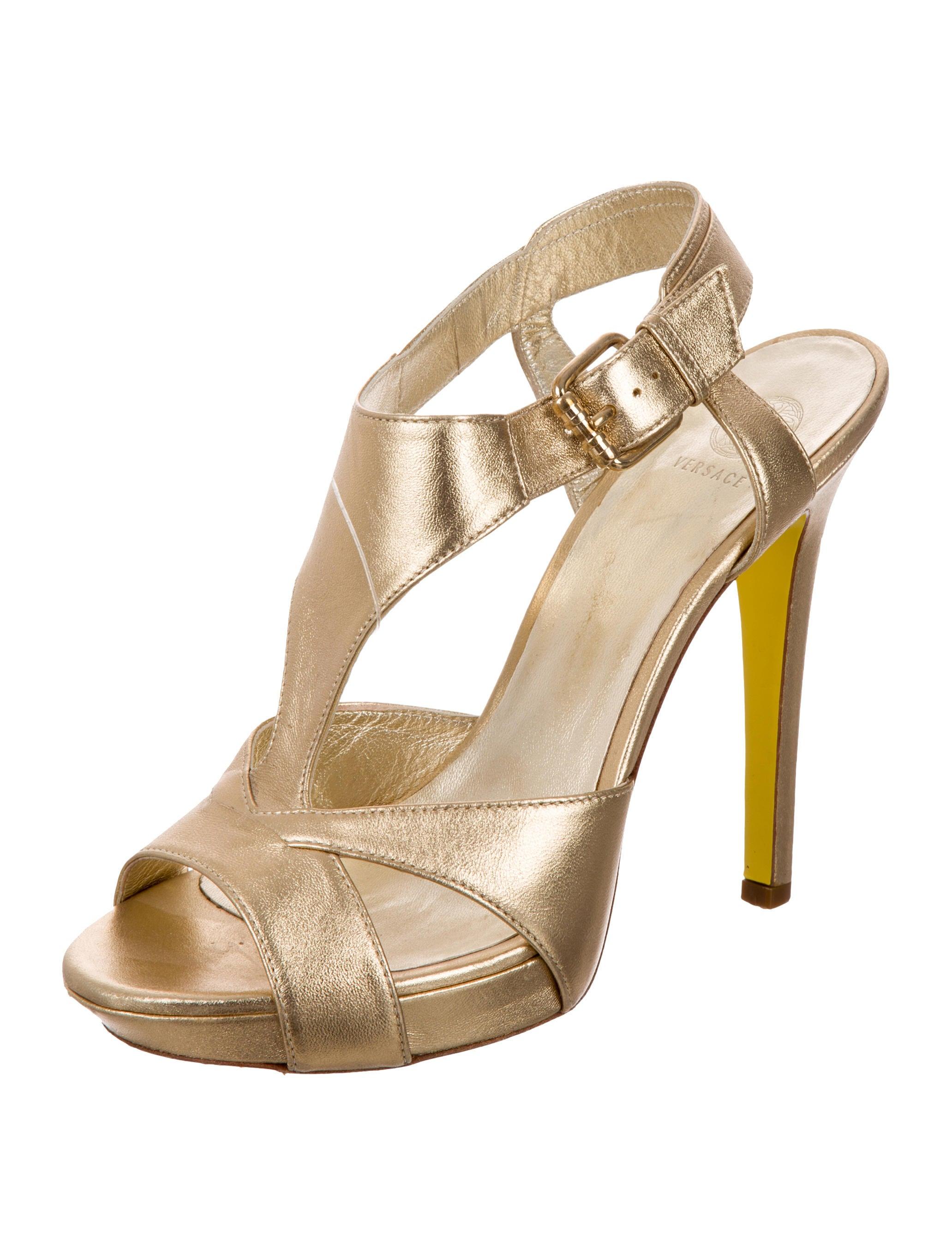 Versace Metallic Cutout Sandals - Shoes - VES31143 | The RealReal
