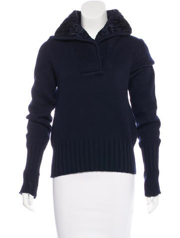 Versace Shearling-Trimmed Wool Sweater None