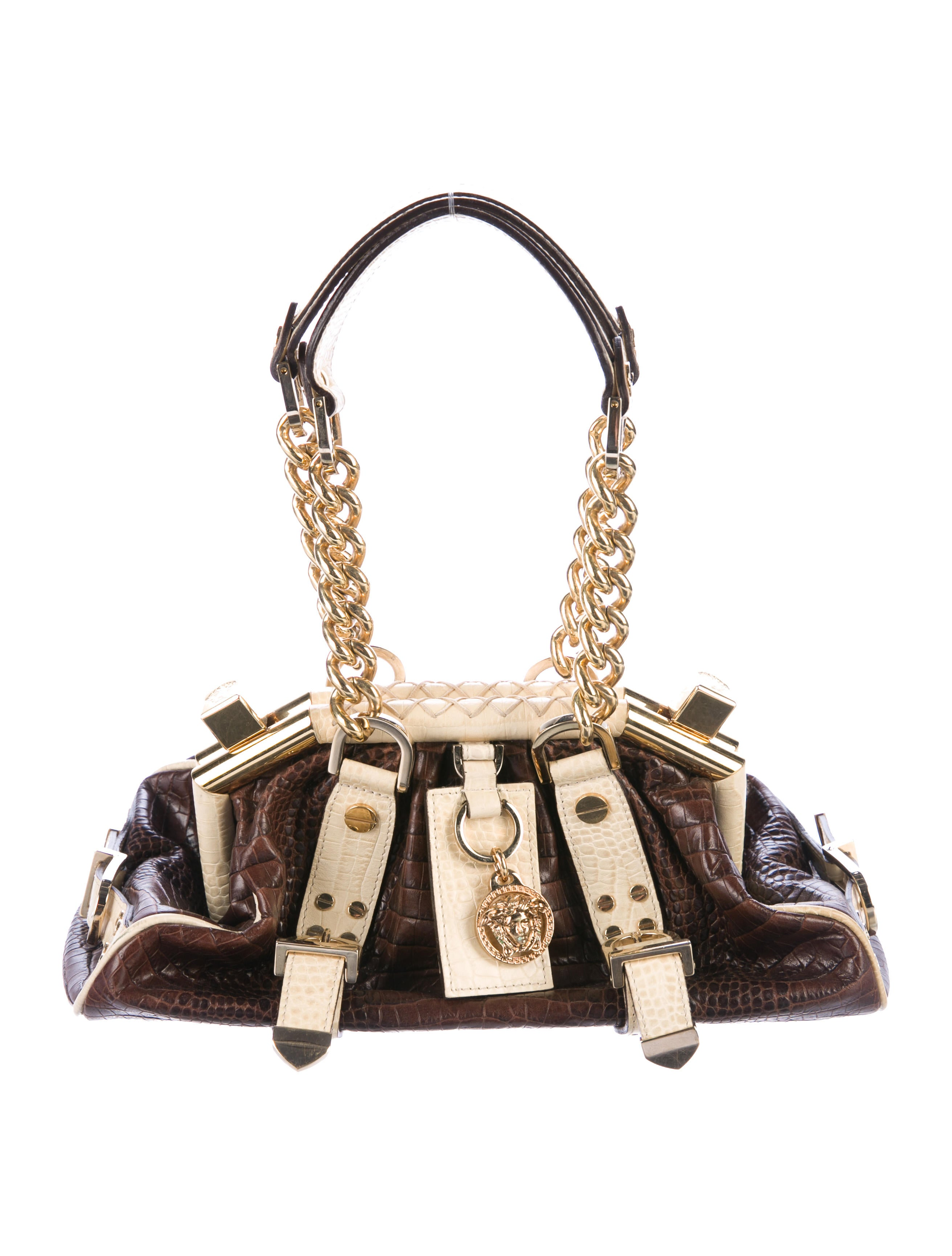 12077fe1b7 Versace Embossed Handle Bag - Handbags - VES31978