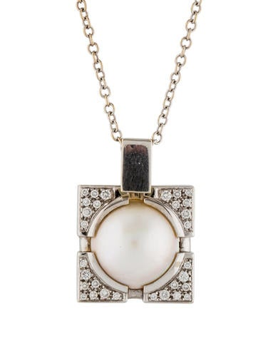 Versace medusa pendant necklace necklaces ves33076 the realreal product nameversace 18k mab pearl diamond pendant necklace aloadofball Images