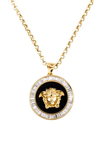 versace 18k diamond onyx medusa head pendant necklace. Black Bedroom Furniture Sets. Home Design Ideas